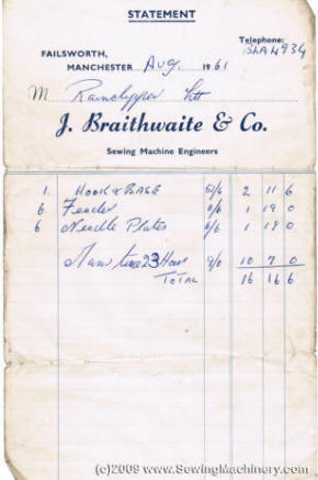 Braithwaite Invoice from 1961